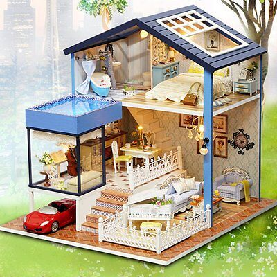 Seattle Cottage DIY Dollhouse Miniature Kit Dolls House With Furniture Gift New