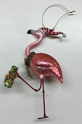 Pink Flamingo Christmas  Ornament Carrying Package And Wearing Wreath And Cap
