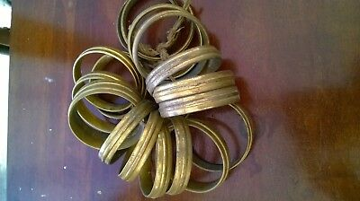 vintage antique solid brass french ribbed curtain rings x 18,dia-6cm