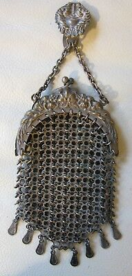 Antique Victorian Art Nouveau Floral Fancy Chain Mail Chatelaine Clip Purse 1890