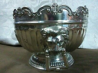 Unique Vtg.Corbell & Co.Silver Plated Lion's Head Monteith Small Bowl,England