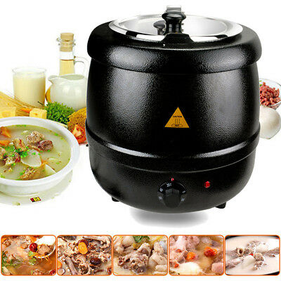 10 Litres Soup Kettle Commercial Stainless Steel Electric Jug Mulled Wine Warmer
