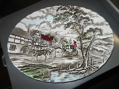 "Vintage Myott Royal Mail Staffordshire Multi-color Oval 12"" Platter very good co"