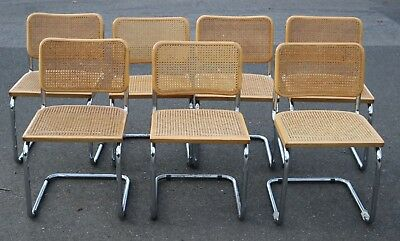 7 Vintage Marcel Breuer Cesca Chairs Chrome Wicker Cane Dining Italy