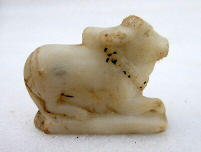 Antique Old Hand Carved White Marble Stone Hindu Idol Nandi Cow Small Statue