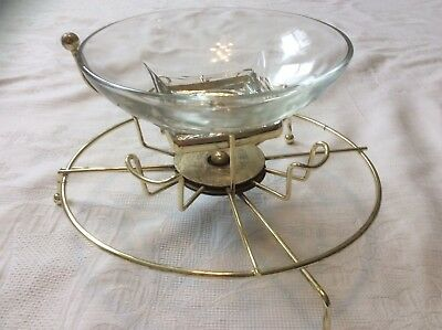 Vintage Lazy Susan Type Glass and Brass Carousel Party Snack Server