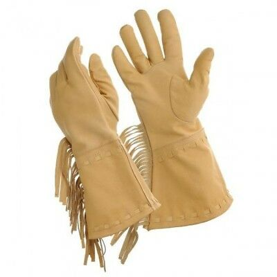 Tough-1 Men's Light Tan Buckaroo Gloves with Fringe Horse Tack Equine