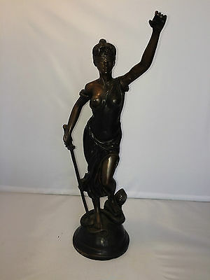 Antique 1800s French Bronze Spelter Statue Victorian Woman - Fabrique Francaise