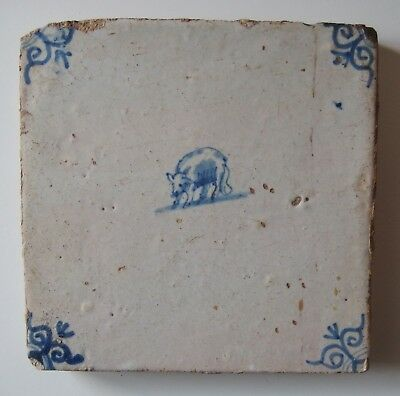 "17th Century DUTCH DELFT TILE ""SHEEP"" (OX-HEAD)"
