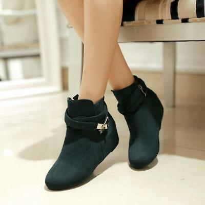 Women's Faux Suede Zipper Round Toe Ankle Boots Wedge Hidden Heels Casual Hot