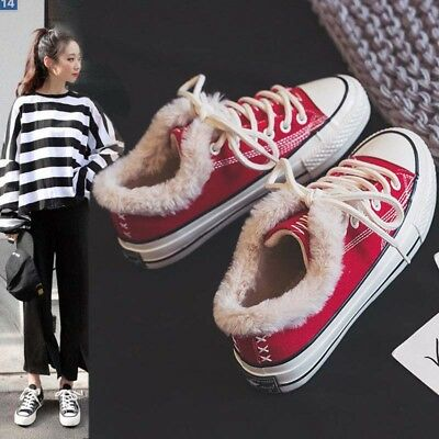 Women's Fur Lined Canvas Shoes Sneakers Casual Sport Low top Thicken Lace up New