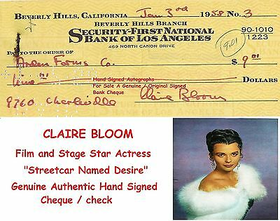 CLAIRE BLOOM Film Star Actress Genuine Hand Signed Bank Check / Cheque  SCARCE