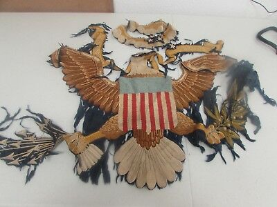 WWII era US Army regimental flag embroidered parts.