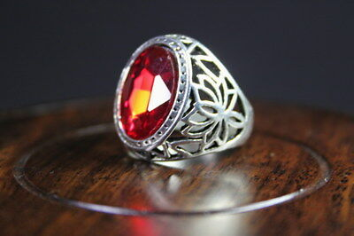 Collectable Decor Handwork Miao Silver Carved Flower Inlay Red Bead Noble Ring