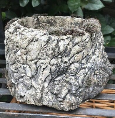 Vintage Hand carved stone Planter trough garden architectural ~ Children