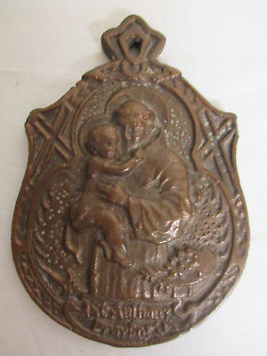 Vintage / Antique Pressed Solid Brass St. Anthony Pray For Us Wall Plaque - Old