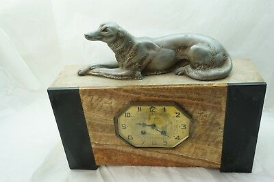 "ANTIQUE ART DECO CLOCK RUSSIAN WOLFHOUND DOG FRENCH MEGNIN MANTLE BORZOI 15""l"