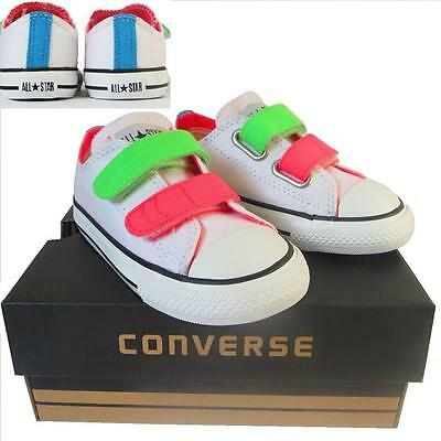 BABY Infant Boy Girl CONVERSE All Star WHITE NEON STRAP Trainers Shoes UK SIZE 4