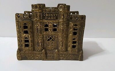 Vintage Antique cast Brass County Bank Moneybox, Piggy Bank. Heavy