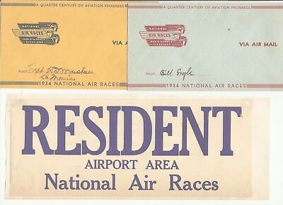 1934 NATIONAL AIR  RACES (6) 2 sgn cov, adm rules flier, Cleveland Railway pass+