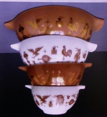 Vintage Pyrex EARLY AMERICAN Complete 4 PC Cinderella Nesting Mixing Bowl Set