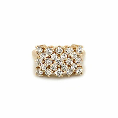 1.50 ct tw F/VS2 Round Diamond Square Cluster Vintage Ring 18K Yellow Gold