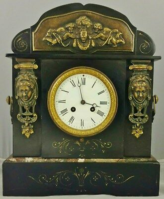 Antique 19th C FRENCH Classical Black MARBLE & BRONZE MANTEL Shelf CLOCK