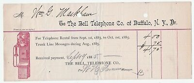 RARE Billhead w Graphic 1885 - Bell Telephone Company of Buffalo NY  EARLY Phone