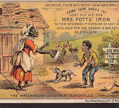 Mrs Potts Sad Iron Black Americana Watermelon Season Ethnic Victorian Trade Card