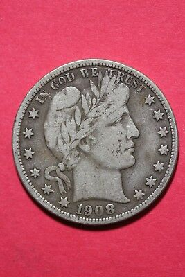 1908 D Barber Liberty Half Dollar Exact Coin Pictured Flat Rate Shipping OCE 535