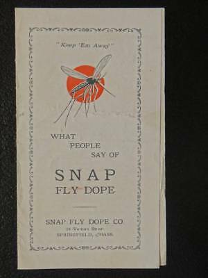 Snap Fly Dope Brochure Poison Repellent  Springfield MA Fly Mosquito 1927  D1 F1
