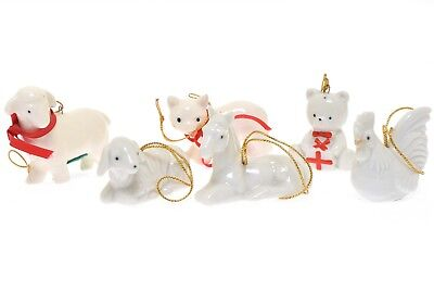 Vintage Takahashi White Ornaments - Lamb Sheep Bear Cat Chicken Horse - Set of 6