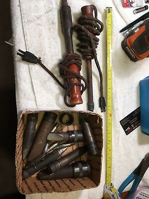 Lot of 2 Vintage Soldering Irons, And Various Tips Electric, WORKING