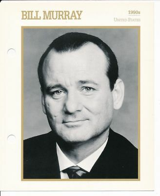 "BILL MURRAY MOVIE STAR ENCYCLOPEDIA 5 3/4"" X 7"" CARD-1990s"