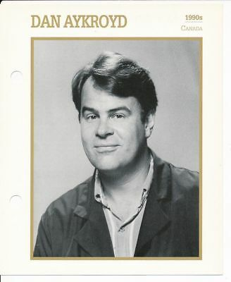 "DAN AYKROYD MOVIE STAR ENCYCLOPEDIA 5 3/4"" X 7"" CARD-1990s"
