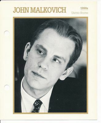 "JOHN MALKOVICH MOVIE STAR ENCYCLOPEDIA 5 3/4"" X 7"" CARD-1990s"