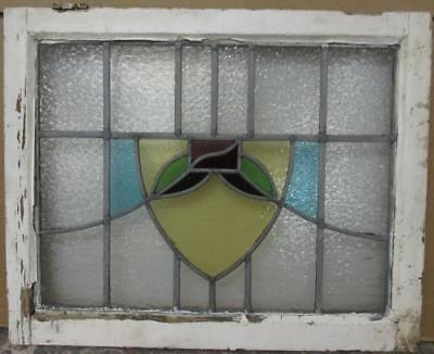 "MID SIZE OLD ENGLISH LEADED STAINED GLASS WINDOW Nice Floral Shield 25"" x 20.5"""