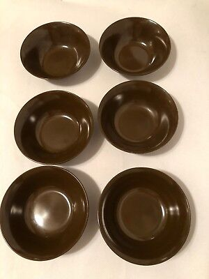"Lot 6 Vintage Texas Ware Small 5.25"" Brown Melamine Bowls"