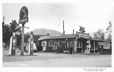 Wondervu CO Frontier Gas Station Pumps Store Owner Real Photo Postcard