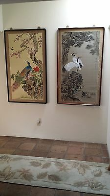 Chinese Paintings on Silk A Pair (2 Cranes & 1 Peacock) Framed 60 by 32 inch