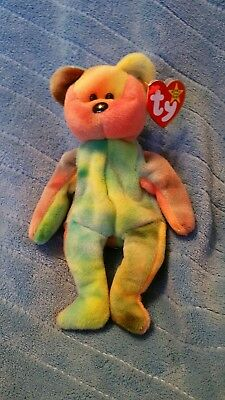 Ty beanie babies Garcia bright colors, yellow, green, pink and purple arm