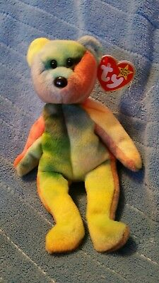 Ty beanie babies Garcia Pink right arm blue left ear and Canadian tush tag