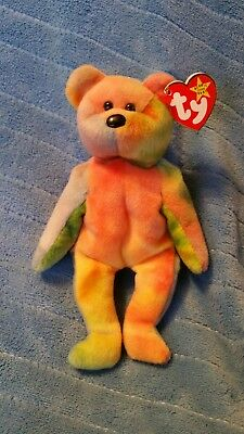 Ty beanie babies Garcia Lavender right arm with pink yellow and green.