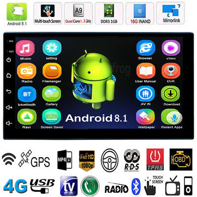 Android 8.1 16G BT WiFi 2Din 7in Quad Core GPS Navi Car Stereo MP5 AM FM Radio