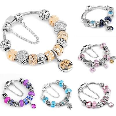 Silver Plated Crystal Charm Bracelet&Bangle For Women Gifts 18/19/20/21/22CM