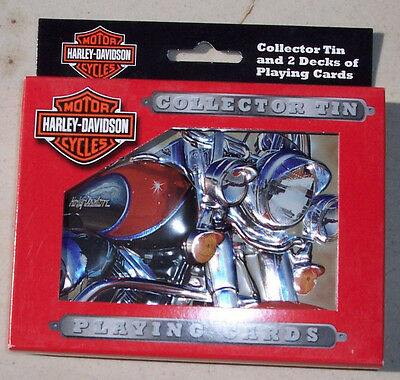 SALE REDUCED-Harley Davidson Collectors Tin with2 Decks of Playing Cards NIB