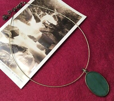 Funky Retro Boho Festival Sage Green Resin Pendant Brass Wire Choker Necklace