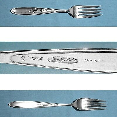 """TOWLE STERLING 7 3//8/""""  FORK ~ ROSE SOLITAIRE ~ NO MONO S"""