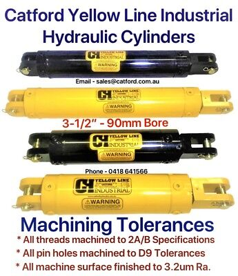 """Catford Yellow Line, Hydraulic Clevis Cylinder / Ram 3-1/2"""" Bore"""