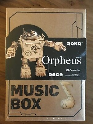 3D Puzzle DIY Movement Wooden Jointed Robot Orpheus AM601 Music Box